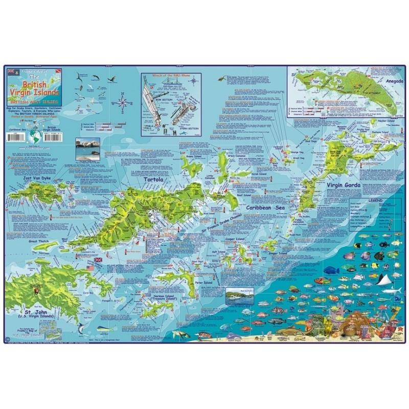 British Virgin Islands -LAMINATED Dive Map