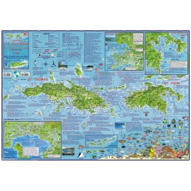 "U. S. Virgin Islands Dive Map -LAMINATED 18.5""x26.5"""
