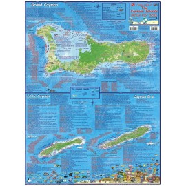 "Cayman Islands Dive Map-LAMINATED 18.5""x26.5"""