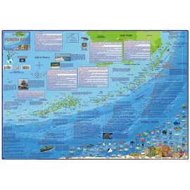 "Florida Keys Map -LAMINATED 18.5""x26.5"""