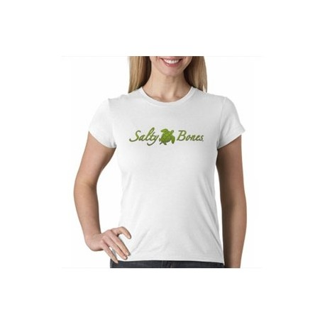 Salty Sea Turtle Ladies T-Shirt Stylized Salty Bones logo and sea turtle ladies form-fitting tee